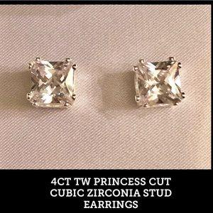 4CT. TW PRINCESS CUT CUBIC ZIRCONIA STUD